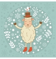 Cute winter card with sheep and bird vector image