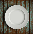 white plate on old wooden table vector image vector image