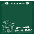 Halloween party green chalkboard menu vector image