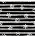 Seamless snowflakes pattern on striped background vector image