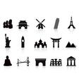 black landmark icons vector image