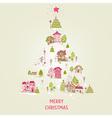 Christmas Card with Christmas Houses vector image