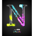 Design Light Effect Alphabet Letter N vector image