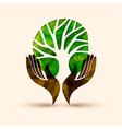 hand tree green nature people help vector image