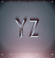 Metal Embossed Font from Y to Z vector image