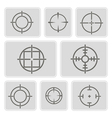 monochrome icons with symbols of sniper scope vector image