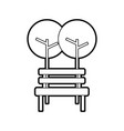 trees with bench park natural scene icon vector image