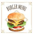 watercolor burger for menu design vector image