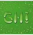 Water drop letters on green background 3 vector image vector image