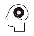 black silhouette head with record player vector image