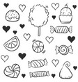 doodle of candy many various hand draw vector image