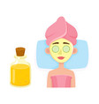 young woman getting cosmetic facial mask in spa vector image