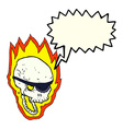 cartoon flaming pirate skull with speech bubble vector image