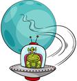 Alien in ufo cartoon vector image