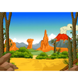 beauty forest with volcano landscape background vector image