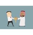 Businessmen fighting over a golden trophy cup vector image