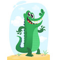 cool funny cartoon crocodile character vector image