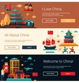 Flat design China travel banners set with famous vector image
