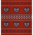 Jacquard pattern with hearts on red vector image
