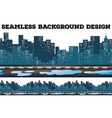 Seamless design with buildings along the sidewalk vector image