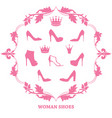 set of woman shoes silhouettes with crowns in vector image