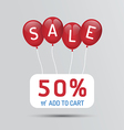 Red Balloon sale with discounts paper poster vector image