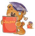 a cheerful brown teddy bear vector image