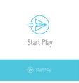paper plane looking like a play or start button vector image vector image