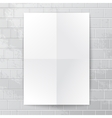 White paper banner against brick wall vector image