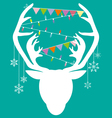 Reindeer white hang christmas accessories on green vector image