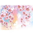 blooming branches against the sky vector image