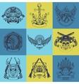 Set of nine art drawn label vector image vector image