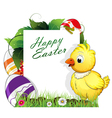 Chicken and Easter eggs vector image