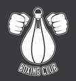 Boxing club emblem - fists and punching bag vector image