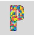 Color Puzzle Piece Jigsaw Letter - P vector image