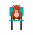 cute bear teddy sitting on chair vector image