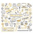 Doodle set of online lessons vector image