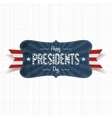 Happy Presidents Day Text on vintage blue Banner vector image