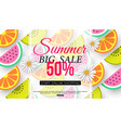 summer sale banner with slices of fruit on white vector image