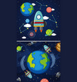 two scenes of earth and spaceships in space vector image