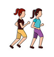 women friends together making sport running vector image