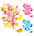 colorful bird with floral swirls vector image vector image