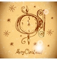 Hand-drawn vintage greeting card with clock vector image