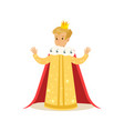 cute little blonde boy wearing a king costume vector image