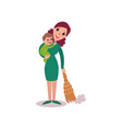 mother sweeping the floor with baby in her arms vector image