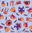 seamless pattern with animals on blue background vector image
