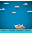 Cruise liner and clouds vector image
