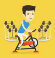 young man riding stationary bicycle vector image