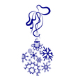 Blue Christmas Ball With Snowflakes vector image vector image
