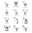 Set of 12 sausage camp coocking icons vector image